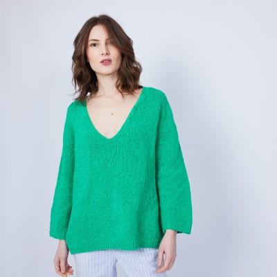Cotton velvet jumper with deep V-neck - MARIETTE