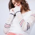 Pull à rayures en maille crochet - Janis 6564 Blanc marine fushia - 02 blanc