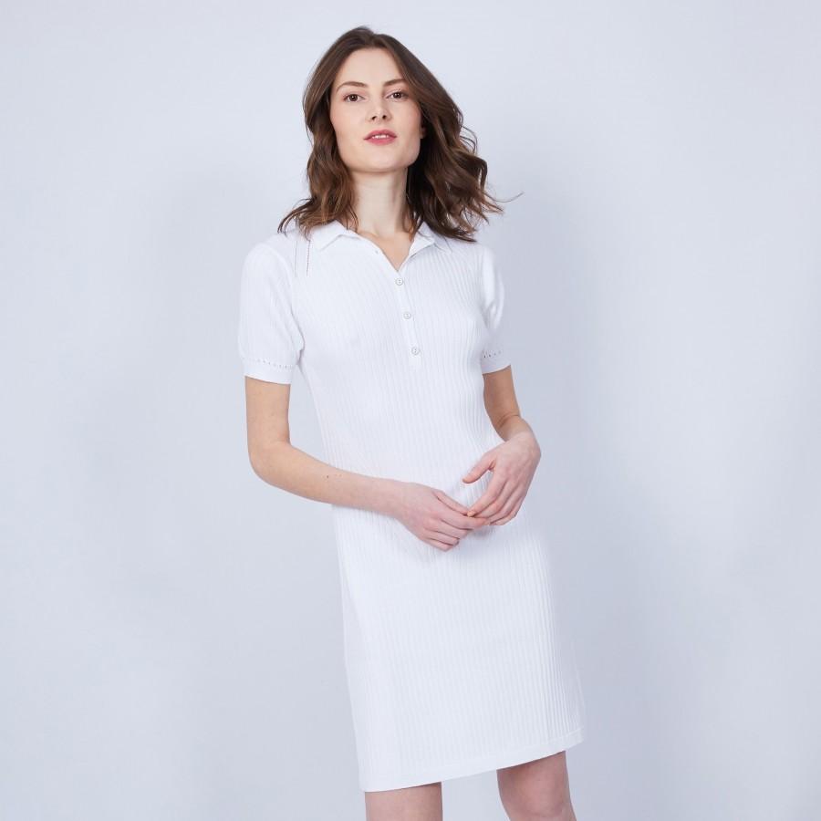 Robe col polo en coton - Jacee 6400 blanc - 02 Blanc