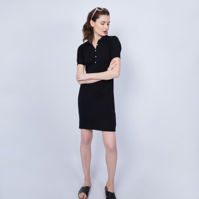 Cotton dress with polo collar - JACEE