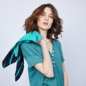 T-shirt en lin col V boutonné - Maati 6450 tropique - 21 vert foncé