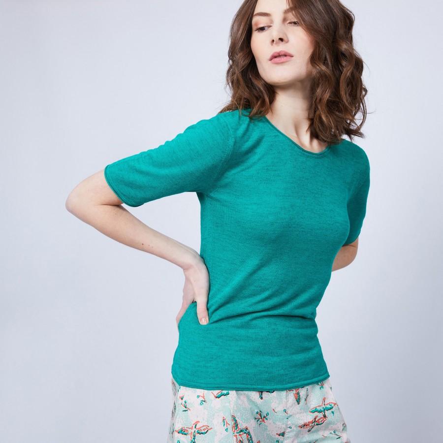 T-shirt uni col rond - Mady 6450 tropique - 21 vert foncé