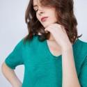 T-shirt uni col V - Mae 6450 tropique - 21 vert foncé