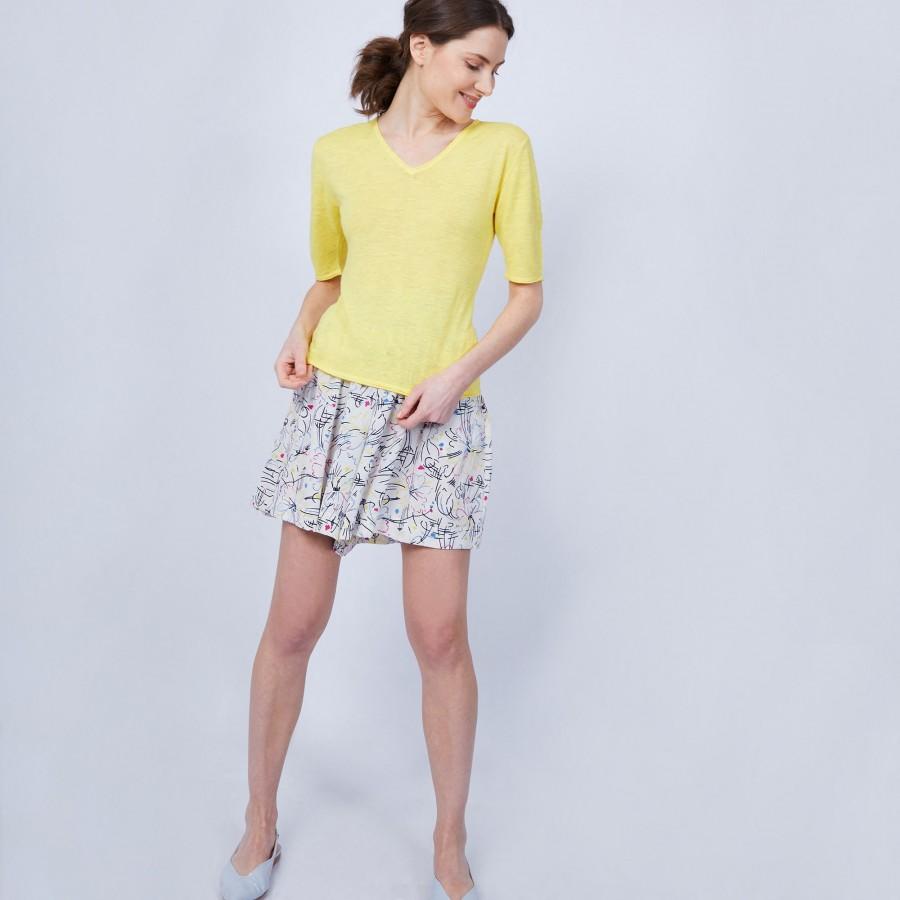 T-shirt uni col V - Mae 6461 acacia - 08 jaune