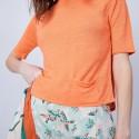 T-shirt ample col rond - Maika 6482 santal - 15 orange