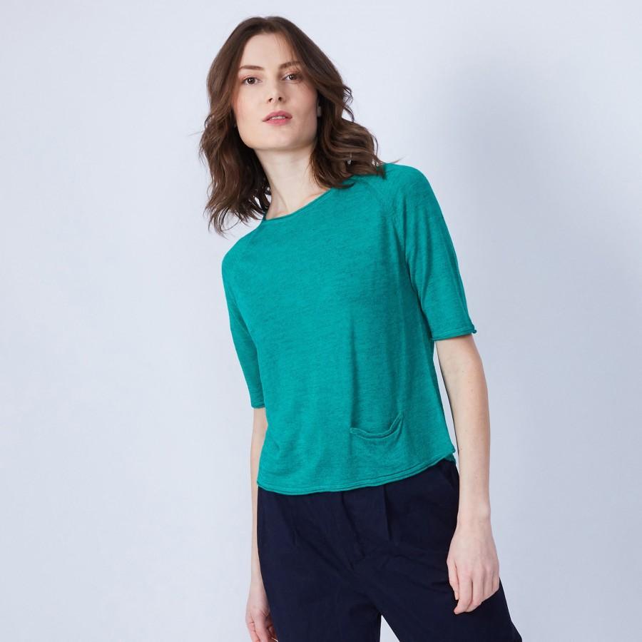 T-shirt ample col rond - Maika 6450 tropique - 21 vert foncé