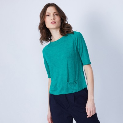 T-shirt with 1 pocket and back pleat - MAIKA