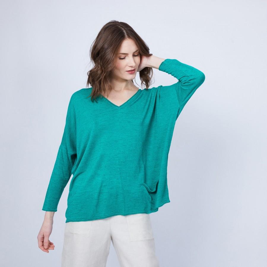 T-shirt ample col V - Malou 6450 tropique - 21 vert foncé