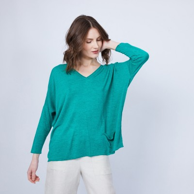 Loose long-sleeved V-neck T-shirt - MALOU