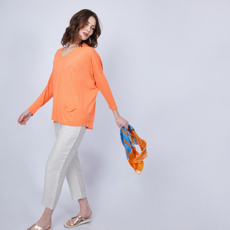 T-shirt ample col V - Malou 6482 santal - 15 orange
