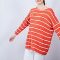 Pull rayé col rond - Mariah 6530 ardent or - 15 Orange