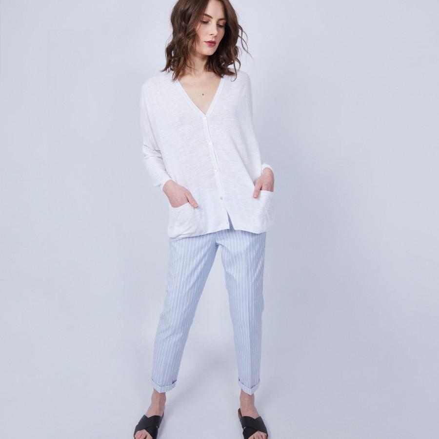 Gilet ample avec poches - Maureen 6400 blanc - 02 blanc
