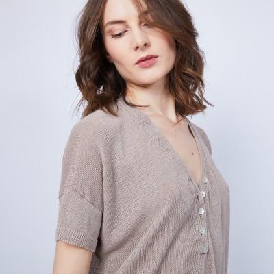 T-shirt en lin col V boutonné - Maati