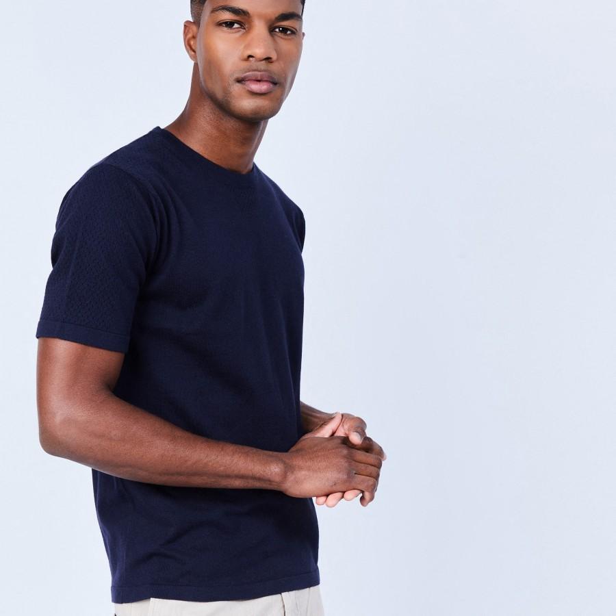 T-shirt en coton et soie - Lars 6440 marine - 05 Bleu marine