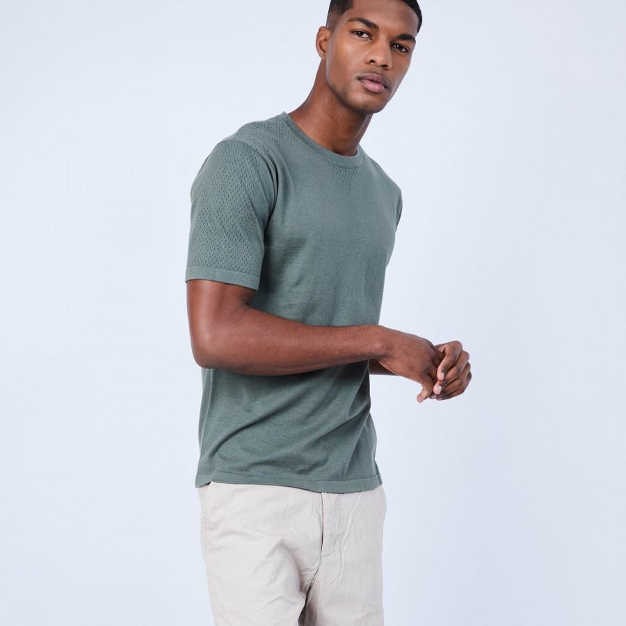 T-shirt en coton et soie - Lars 6452 kaki - 83 Kaki