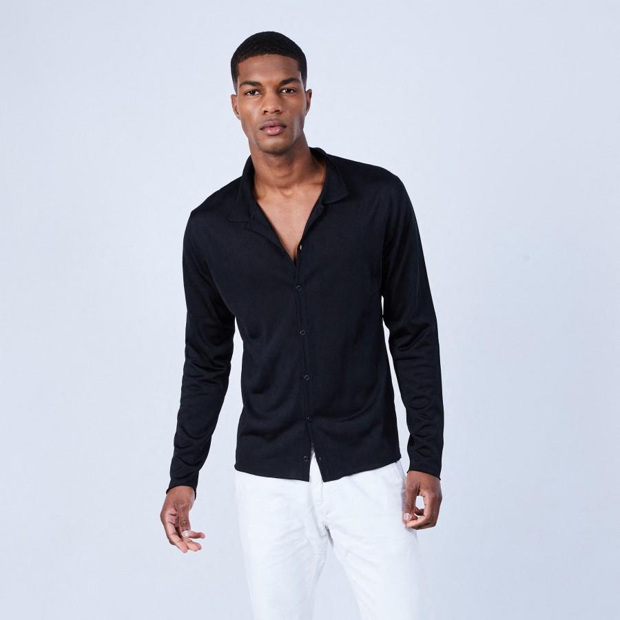 Chemise manches longues en Fil Lumière - Lazar 6410 noir - 01 Noir