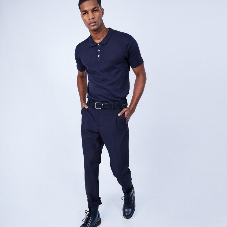 Polo en coton et soie - Lenny 6440 marine - 05 Bleu marine