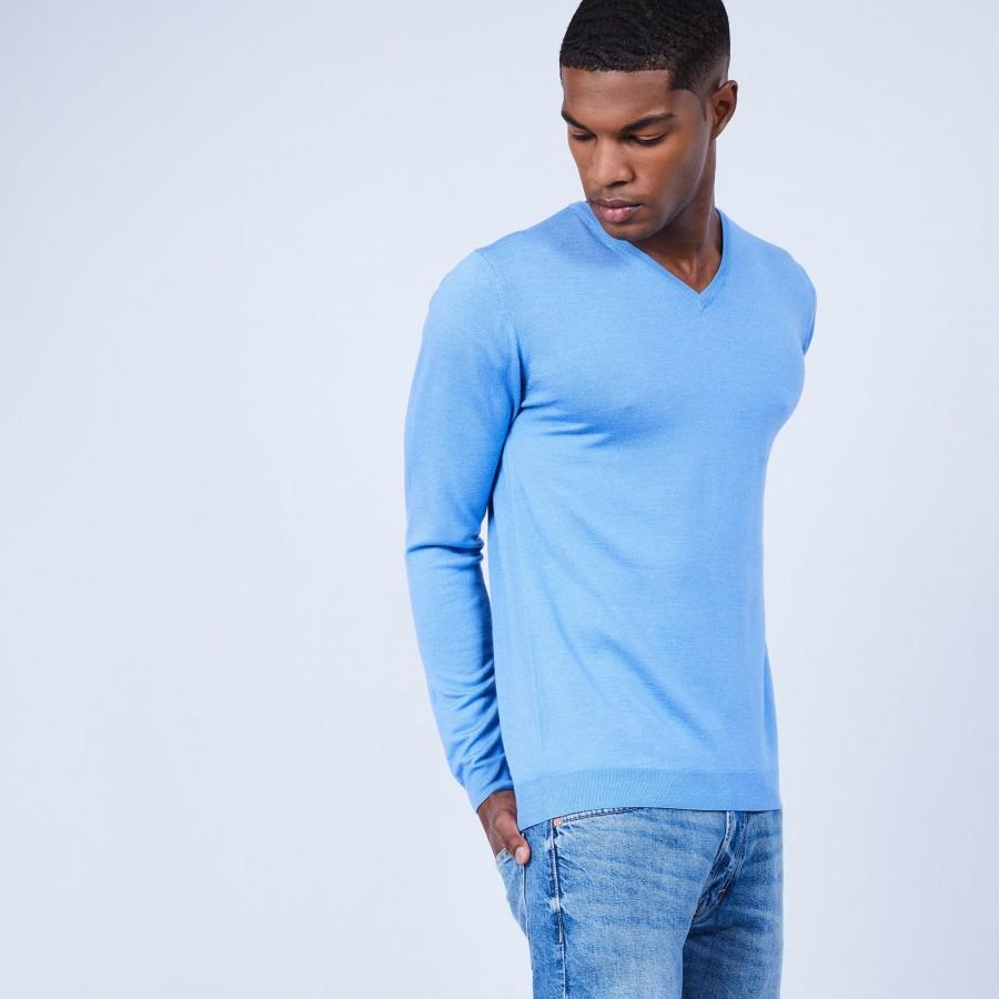 Pull col V en laine et soie - Lessie 6441 calypso - 06 Bleu moyen