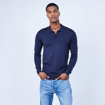 Jumper with polo collar in merino wool - LINO