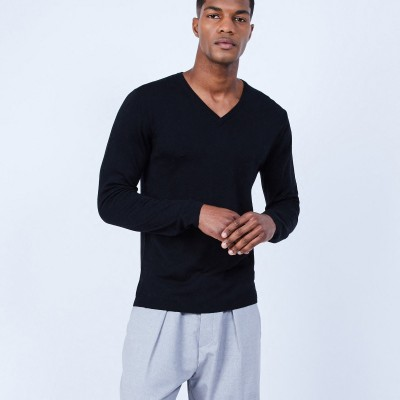 V-neck jumper in merino wool - LORENZO