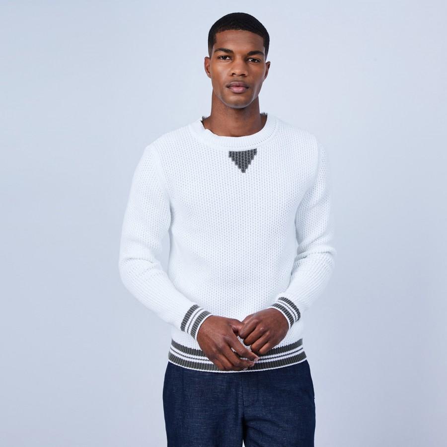 Pull en coton col rond - Ludo 6504 blanc kaki - 02 Blanc