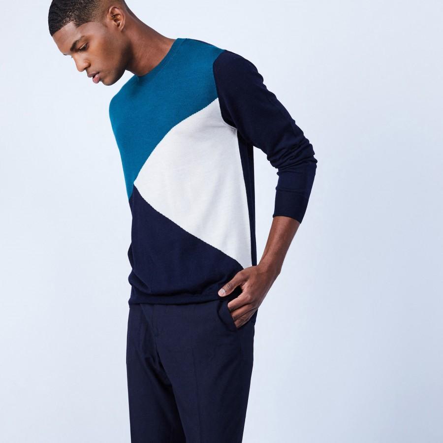 Pull tricolore en laine mérinos - Luigi 6500 marine dune tropique - 05 bleu marine