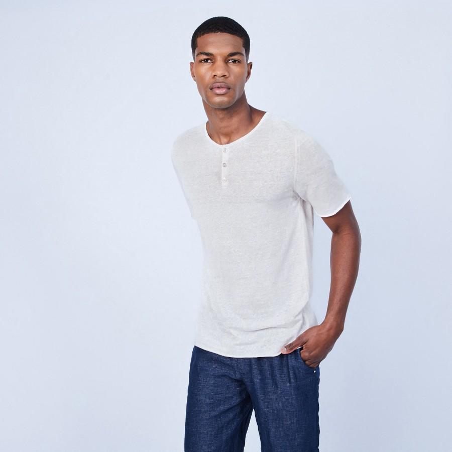 T-shirt col boutonné en lin - Leonce 6401 dune - 12 beige clair