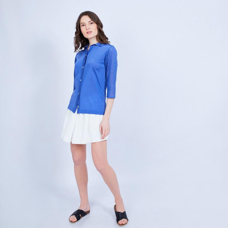 Chemise manches 3/4 en Fil Lumière - 9155 ara - 03 bleu foncé