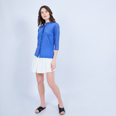 Shirt with 3/4 sleeves in Fil Lumière - MARJORIE