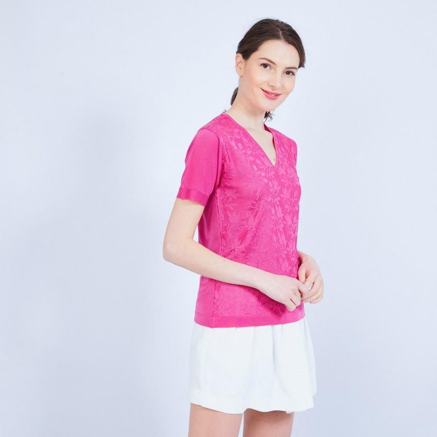 T-shirt col V en Fil Lumière - Marielle 9777 azalee - 26 rose foncé