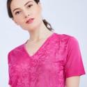 T-shirt col V en Fil Lumière - Marielle 9530 amazone - 84 bleu pétrole