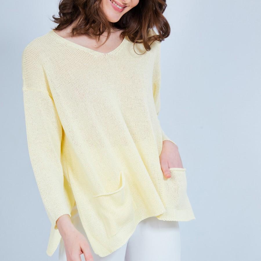 Pull ample col V - Nima 6462 mimosa - 08 jaune