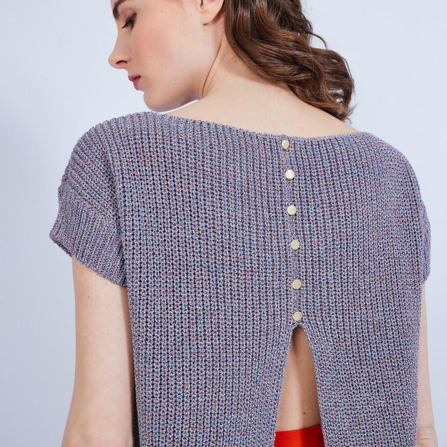 T-shirt avec fente au dos - Margaret 6543 multico - 85 multicolore