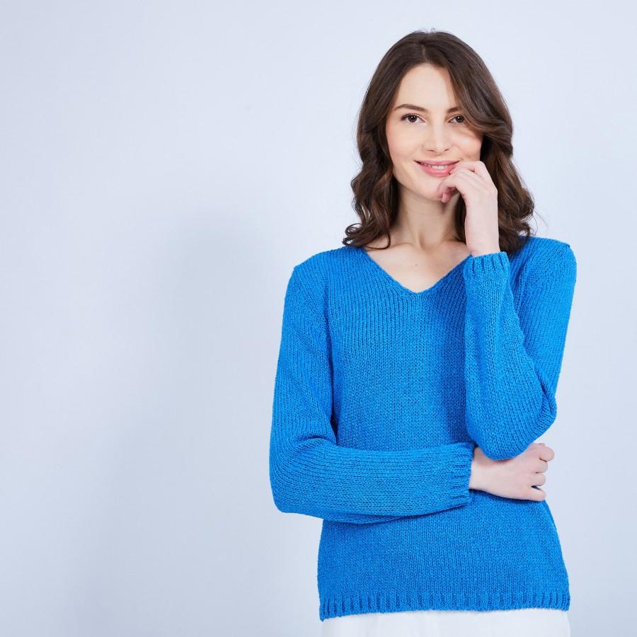 Pull Femme col V - Clovis- 6448 Boréal -  Bleu roi