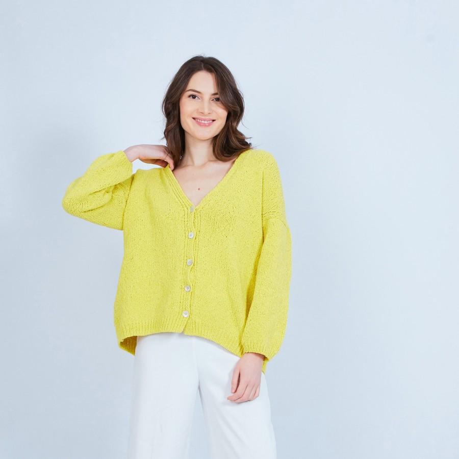 Grand gilet en velours de coton - Mounia 6461 Acacia - 08 jaune