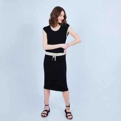 Mid-length belted dress - MEILI