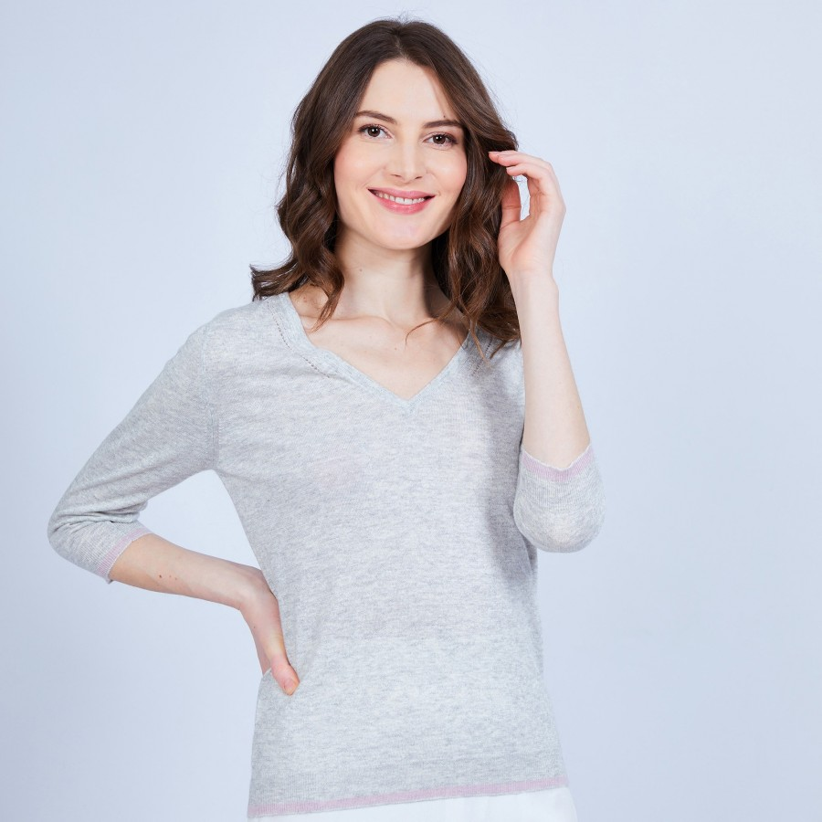 V-neck jumper in cashmere and linen - JOANNE