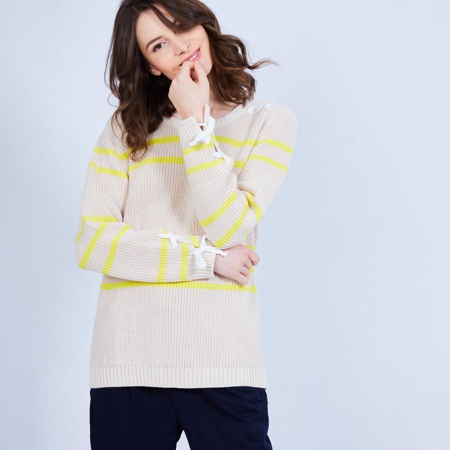 Pull en coton à cordes - Jerôme 6561 Plage/Mimosa - 13 beige moyen