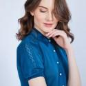 T-shirt col polo en soie - Jourdan 6447 Capri - bleu pétrole