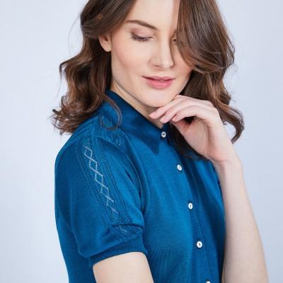 Short-sleeved polo shirt in silk - JOURDAN