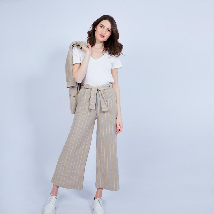 Pantalon large en coton - Joseph 6534 Plage/Mistral - 13 beige moyen