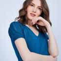 T-shirt col grand V en soie - Justice 6447 Capri - bleu pétrole