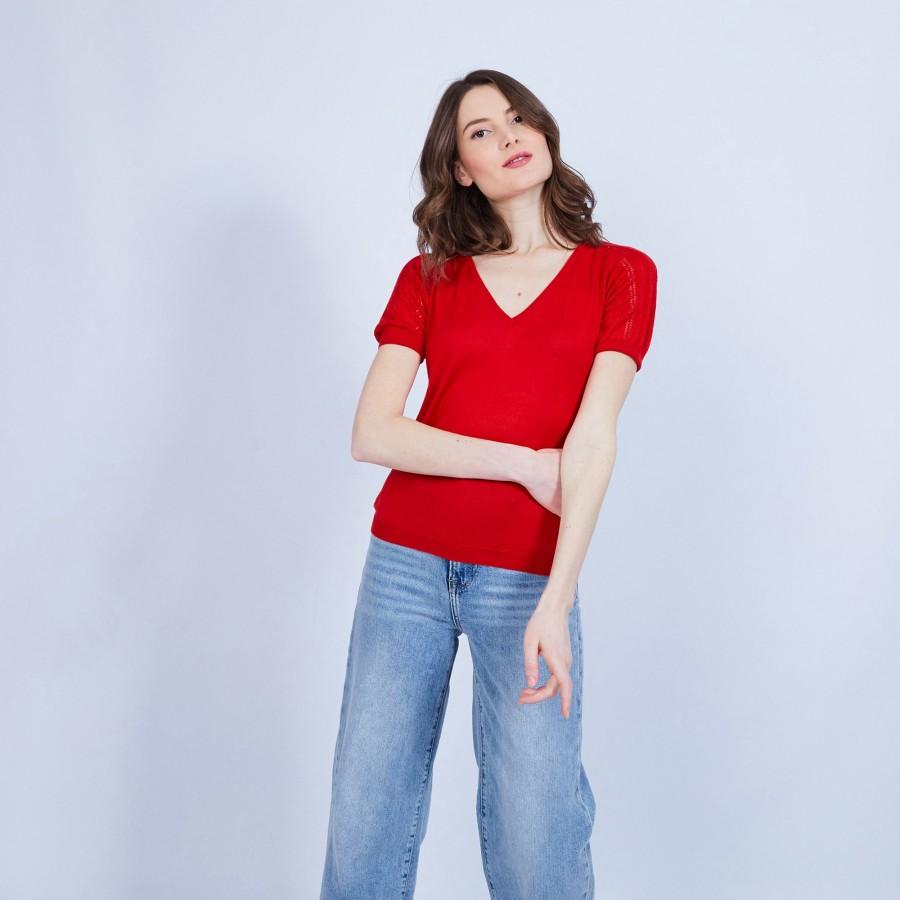 T-shirt col grand V en soie - Justice 6480 Vermillon - 52 rouge