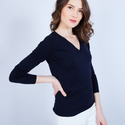 V-neck jumper in merino wool - Ether