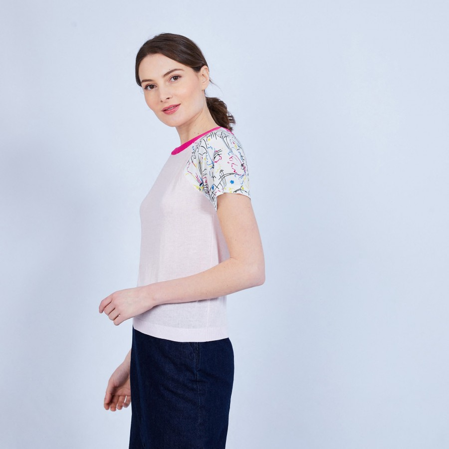 T-shirt bi-matières soie et coton - Jimmy 6579 nymphe fushia - 24 Rose clair