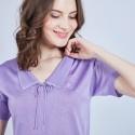 Polo col avec noeud en Fil Lumière - Mariline 9889 parme - 17 violet