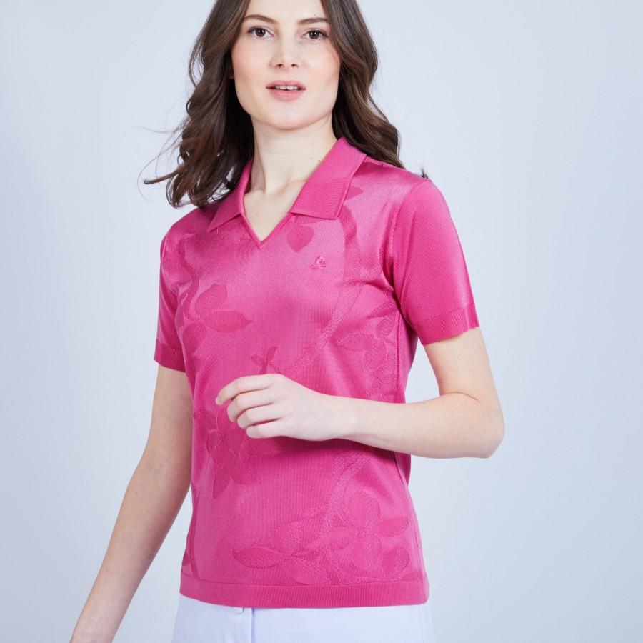 Patterned V-neck T-shirt in Fil Lumière - MONA
