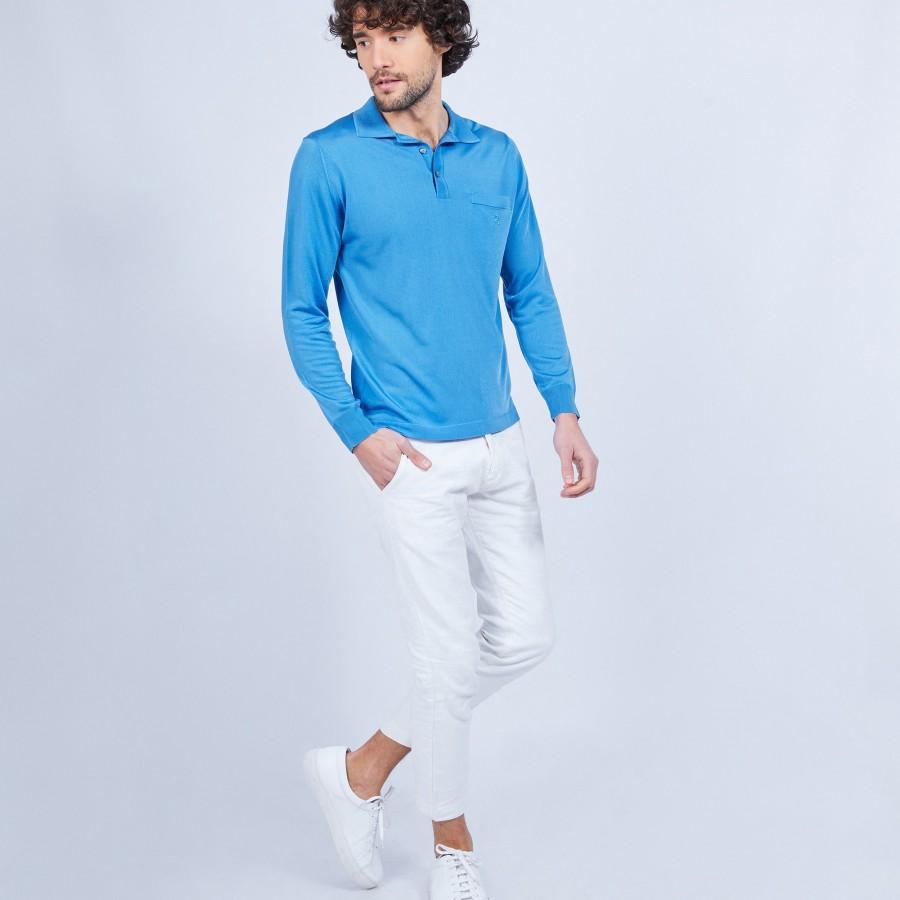 Polo manches longues homme en Fil Lumière Boris 8452 denim - 48 Bleu roi