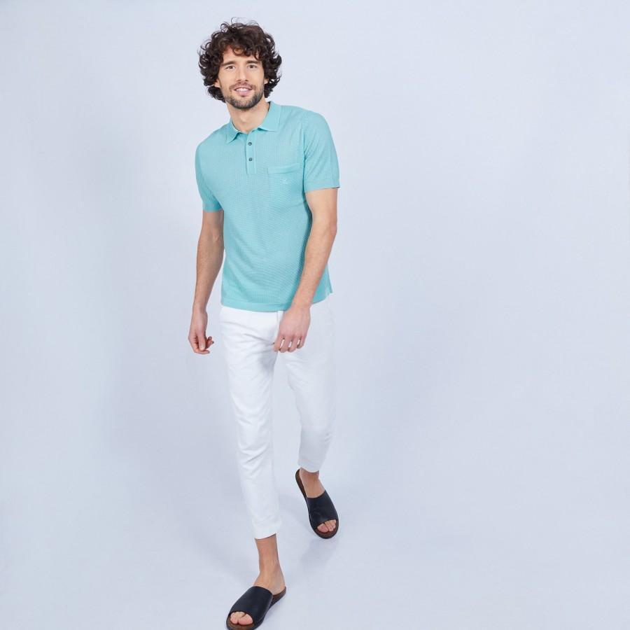 Polo rayé en Fil Lumière - Ludovic 9560 lac - 49 Turquoise