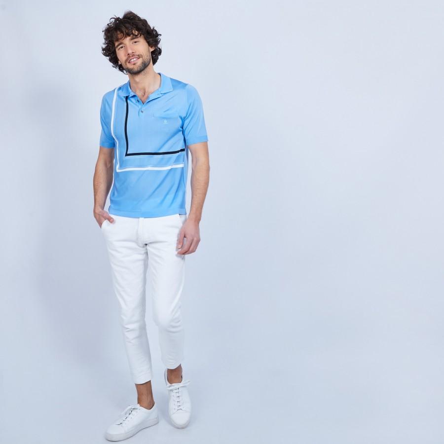 Polo à rayures Fil Lumière - Loic 9644 merlin - 04 Bleu clair